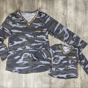 Mom and me Camo sequin Vneck top